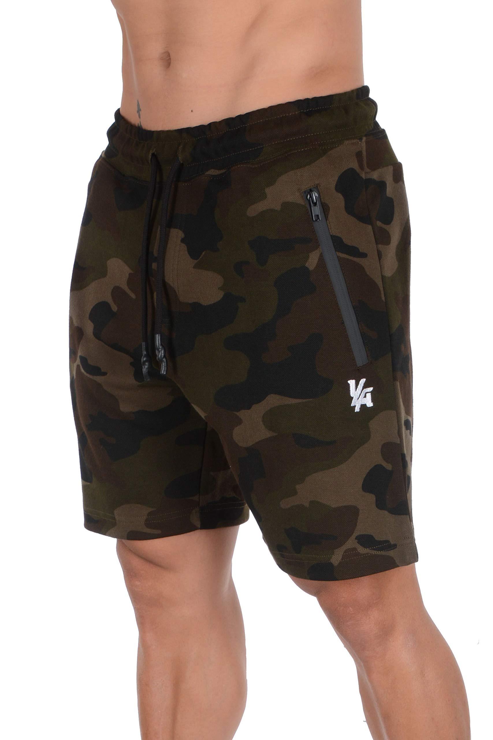 YoungLA Mens Shorts with Zipper Pockets | Casual Gym Training 108 | Camo Green Medium by YoungLA