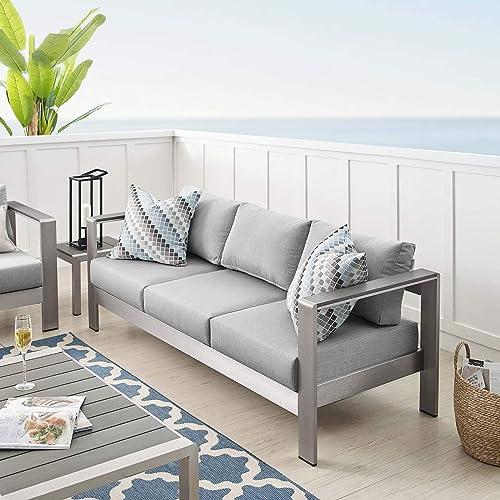 Modway EEI-4228-SLV-GRY Shore EEI-4228-SLV-GRYShore Sunbrella Patio Sofa