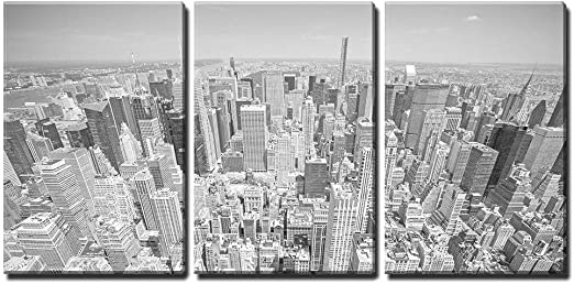 Amazon Com Wall26 3 Piece Canvas Wall Art Black And White Toned Aerial View Of Manhattan New York City Usa Modern Home Art Stretched And Framed Ready To Hang