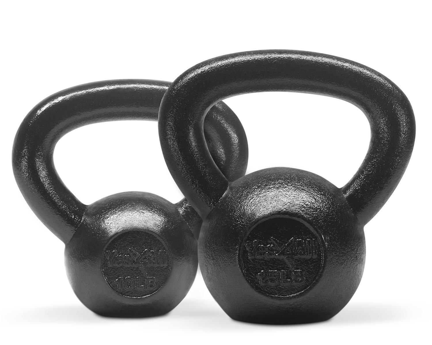 Yes4All Combo Cast Iron Kettlebell Weight Sets – Great for Full Body Workout and Strength Training – Kettlebells 10 15 lbs (Black)