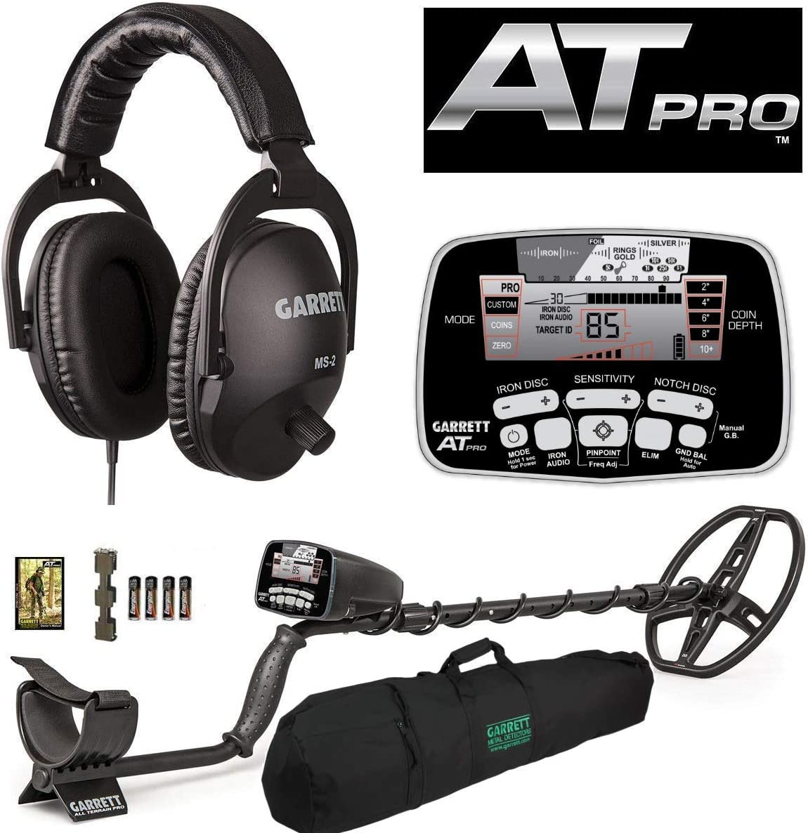 Garrett AT PRO with MS-2 Headphones and 50 Travel Carry Bag