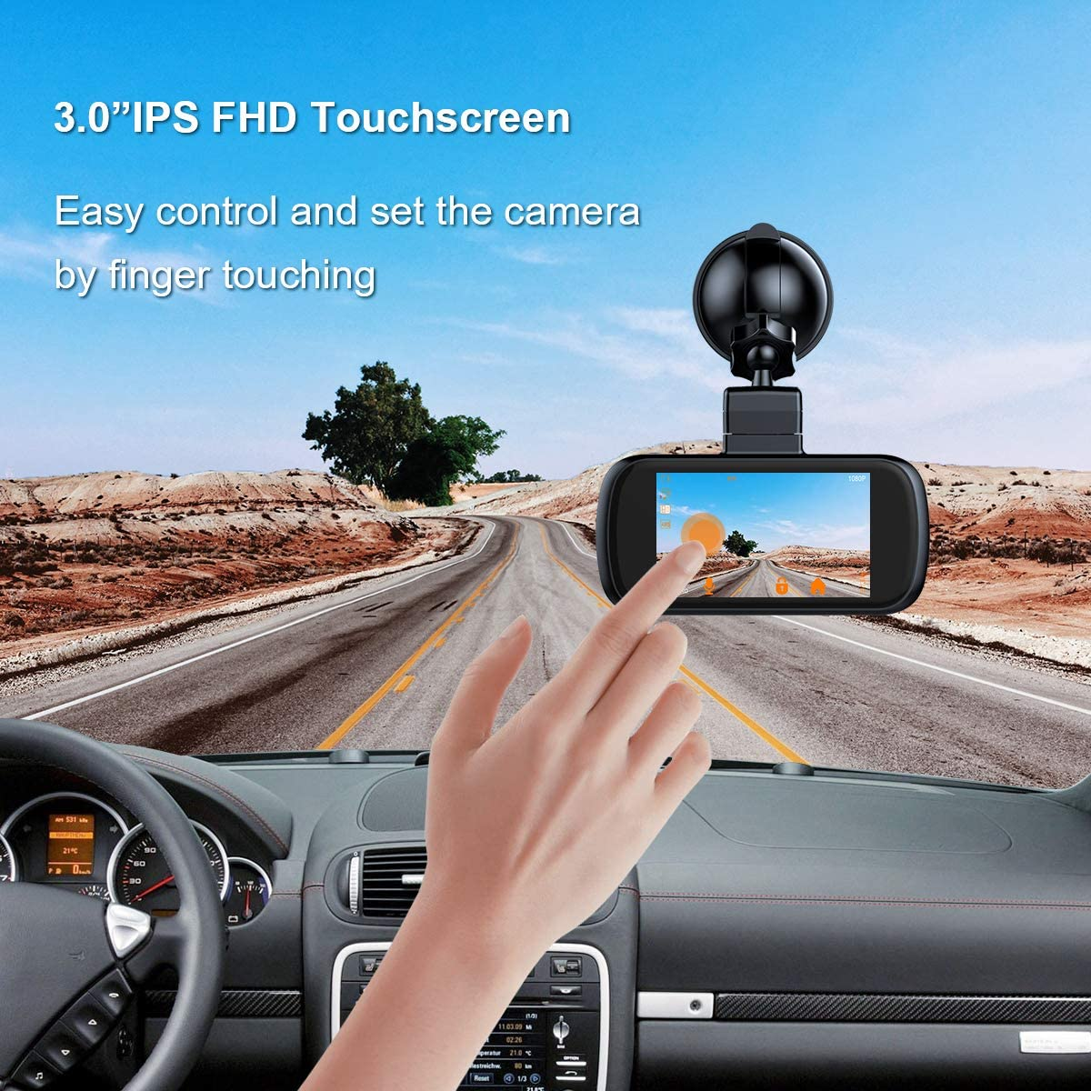 EACHPAI K2 3 IPS Touch Screen Dash Camera Front for Cars 1080P Dashboard Camera 150/°Wide Angle Super Capacitor WDR G-Sensor Loop Recording Car Dash Cam GPS