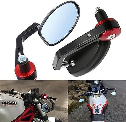 Noir R/étroviseur Moto Embout de Guidon Universel 7//8 22mm pour Street Bikes V/élos de Sport Chopper