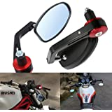 "ViZe 7/8"" 22mm Bar End Mirrors For Motorcycle Universal Rear View Mirrors For Yamaha Honda Triumph Ducati Motif Black-Red"