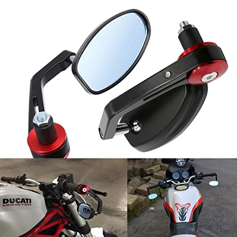 Bar End Mirrors.Vize 7 8 22mm Side Bar Mirrors Bar End Mirrors Universal Rear View Mirrors For Yamaha Honda Triumph Ducati Motif Black Red