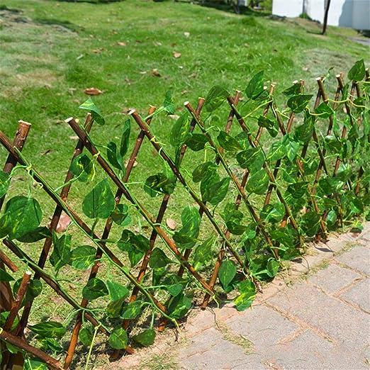S-tubit Valla de Madera con Hojas de Hiedra Artificial, Valla de Planta de jardín Pantalla de privacidad protegida contra Rayos UV Muros de vegetación para decoración de hogar de Patio Excitement: Amazon.es: