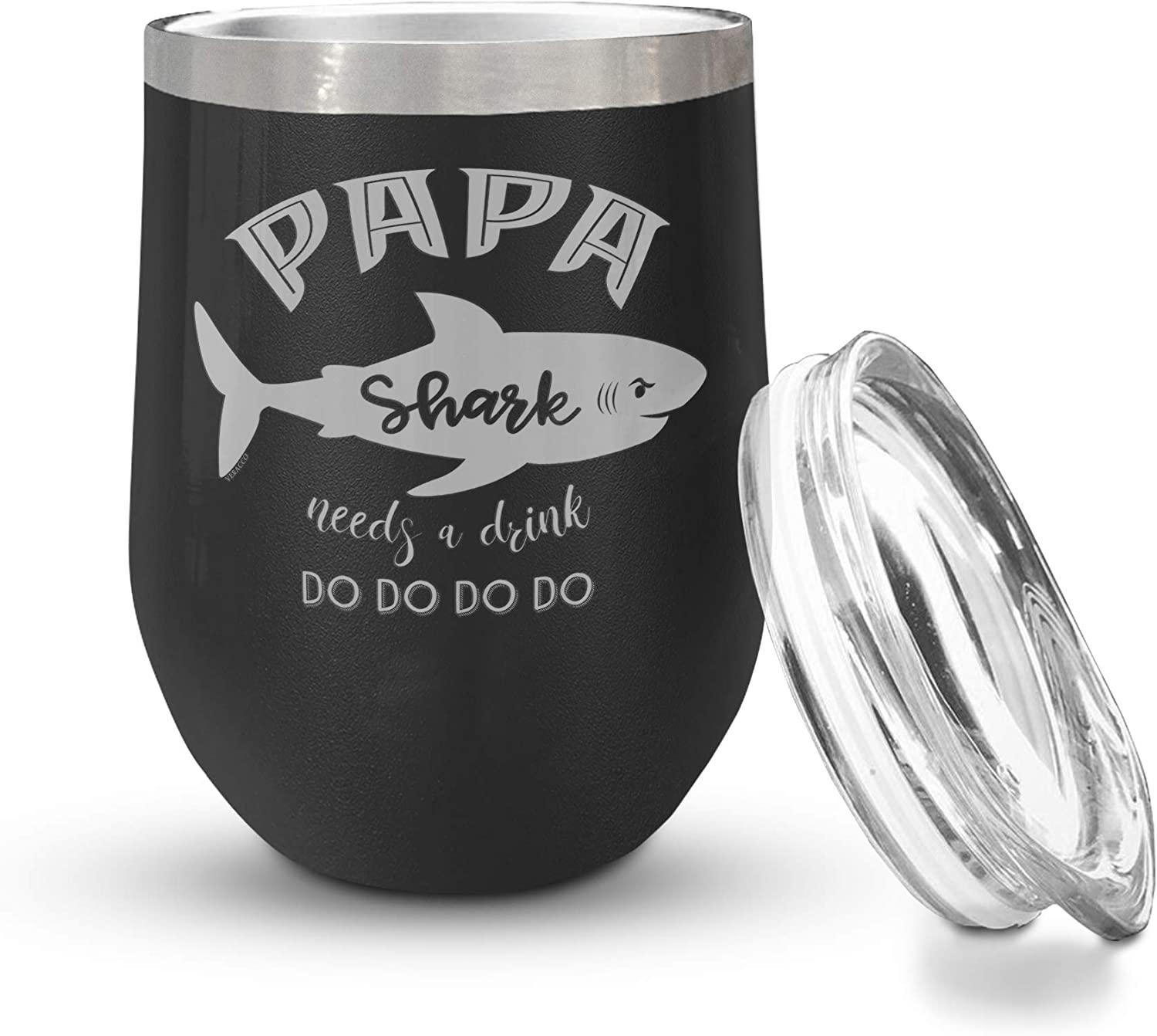 Veracco Papa Shark Needs A Drink Double Wall Insulated Tumbler with Splash Proof Lid (Black)