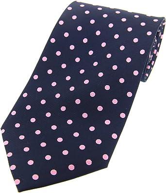 Soprano Vintage azul marino y rosa diseño de lunares de seda ...