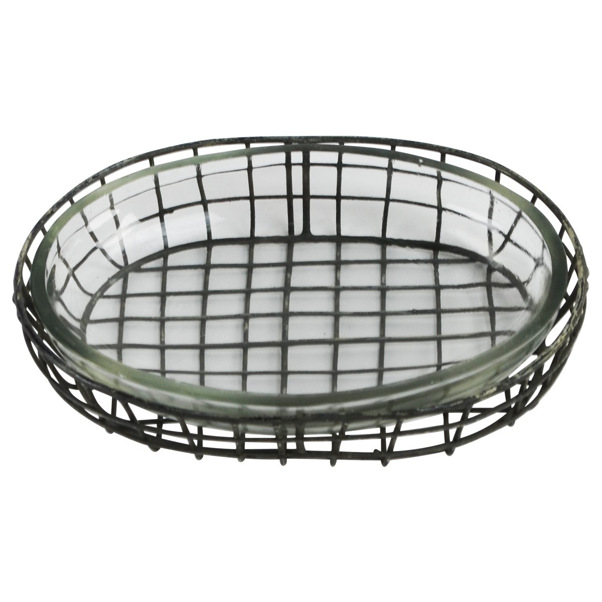 Vintage Style Wire and Glass Soap Dish