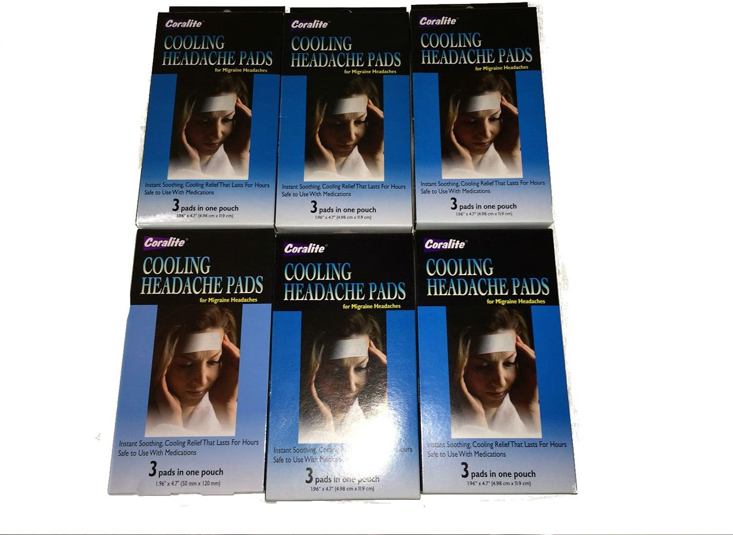 Headache Cooling Pads 3 Per Pack (6 Pack) 18 Total