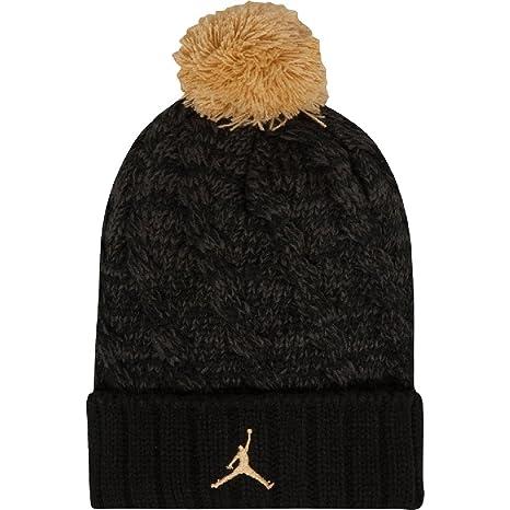 c0d3afe57108 Amazon.com  Jordan Boys  Cable Beanie Black Metallic Gold Size 8 20  Sports    Outdoors