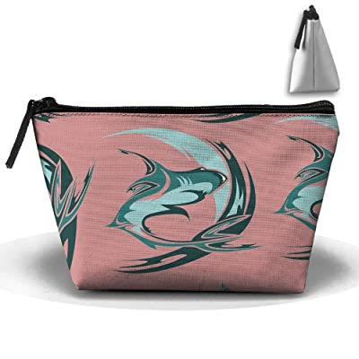 Retro Shark Funny Foldable Makeup Pouch Zipper Travel Cosmetic And Toiletries Organizer Shaving Kit Bags