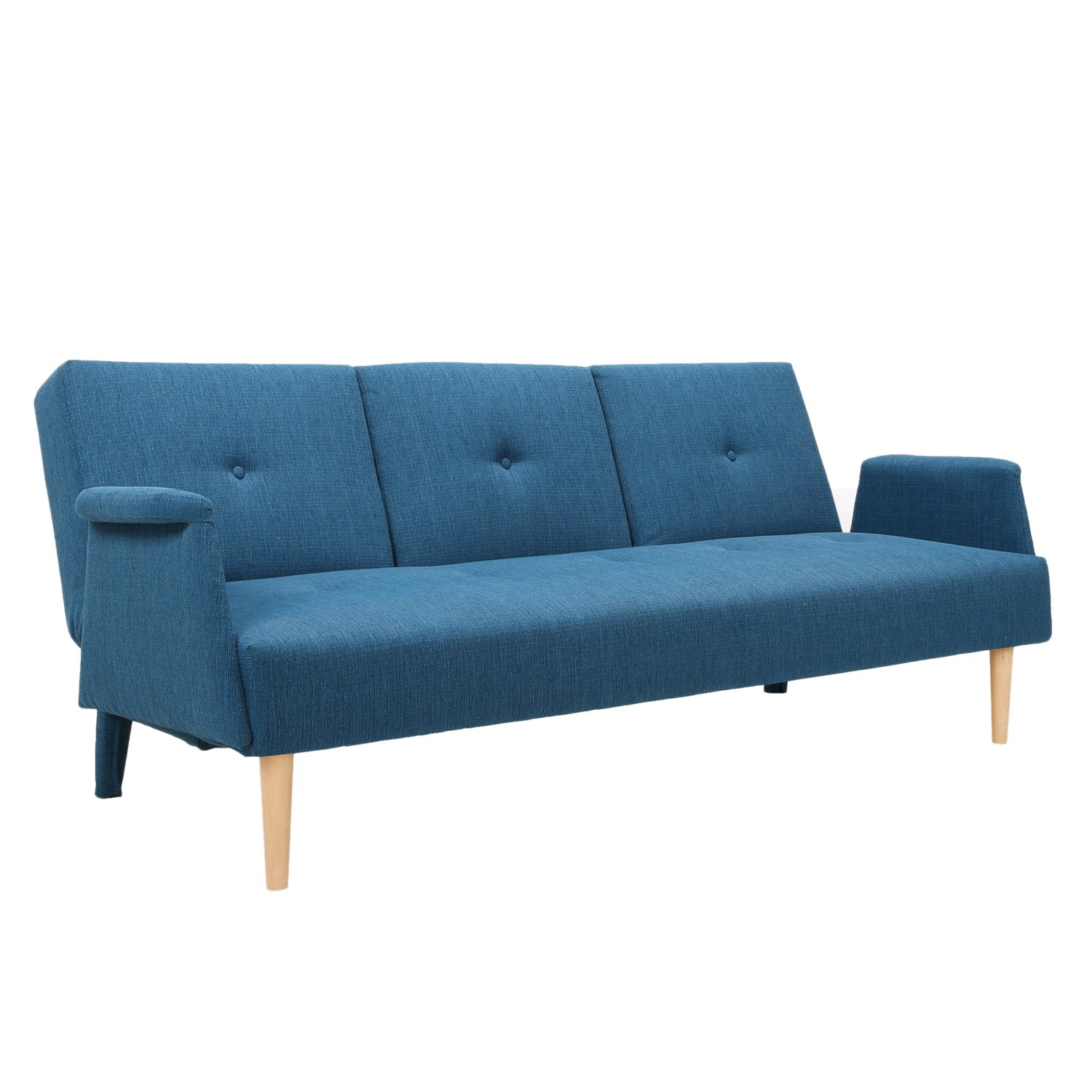 Amazon: Adeco Fabric Fiber Sofa Bed Sofabed Lounge With Arm, Soft  Cushion, Living Room Seat, Wood Legs, Royal Blue: Kitchen & Dining