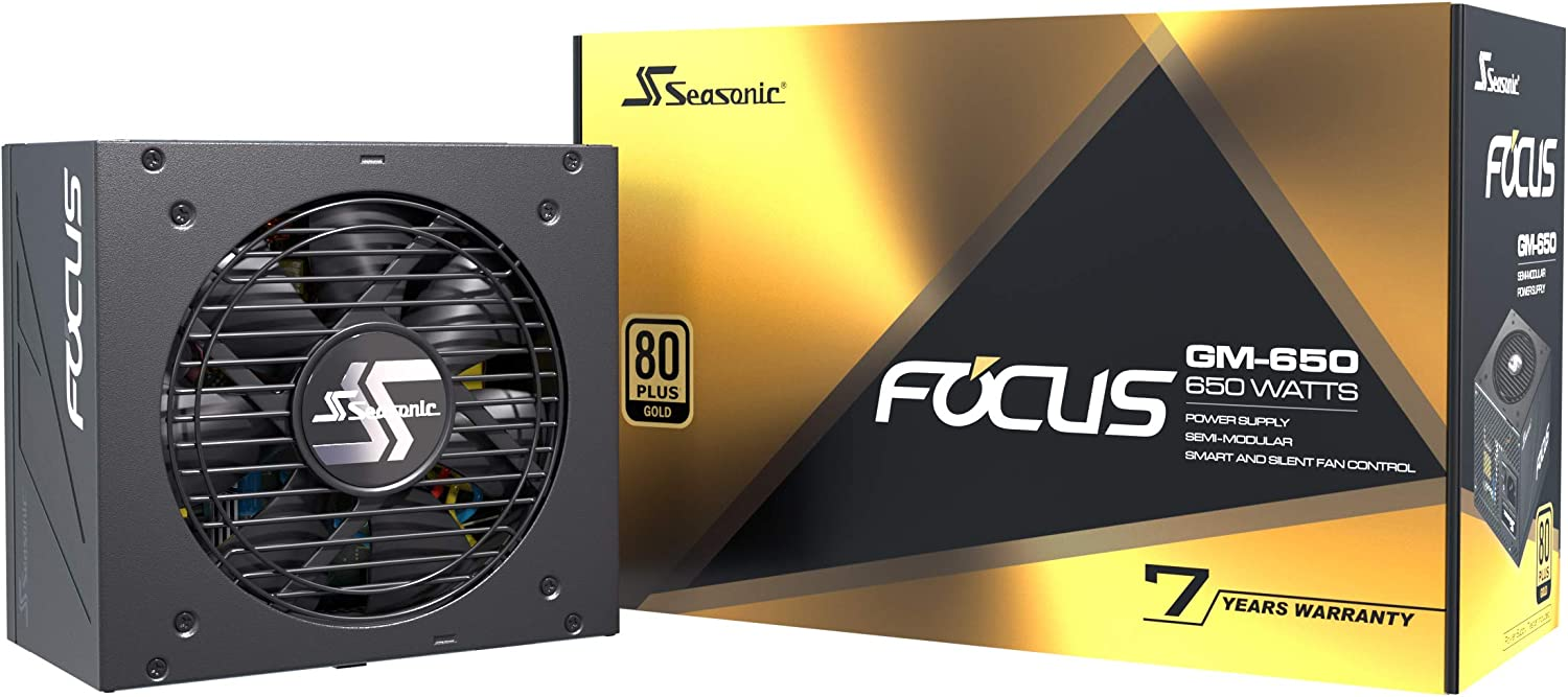 Seasonic Focus GM-650, 650W 80+ Gold, Semi-Modular, Fits All ATX Systems, Fan Control in Silent and Cooling Mode, 7 Year Warranty, Perfect Power Supply for Gaming and Various Application