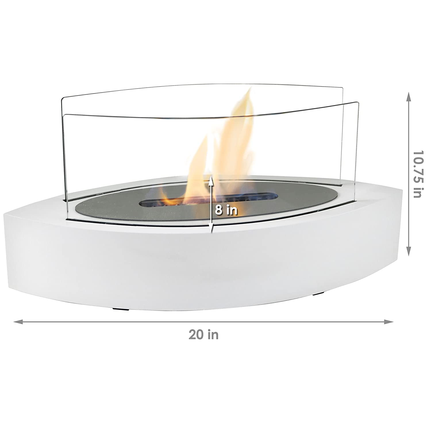 Amazon.com: Sunnydaze White Barco Ventless Tabletop Bio Ethanol Fireplace with Fuel: Sunnydaze Decor: Home & Kitchen