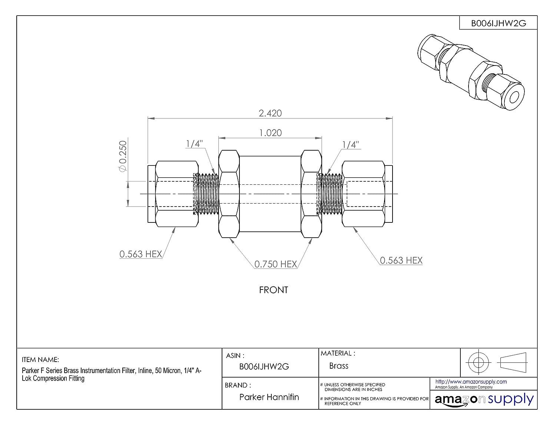Inline 10 Micron 1//4 A-Lok Compression Fitting 1//4 A-Lok Compression Fitting 4A-F4L-10-B Parker F Series Brass Instrumentation Filter
