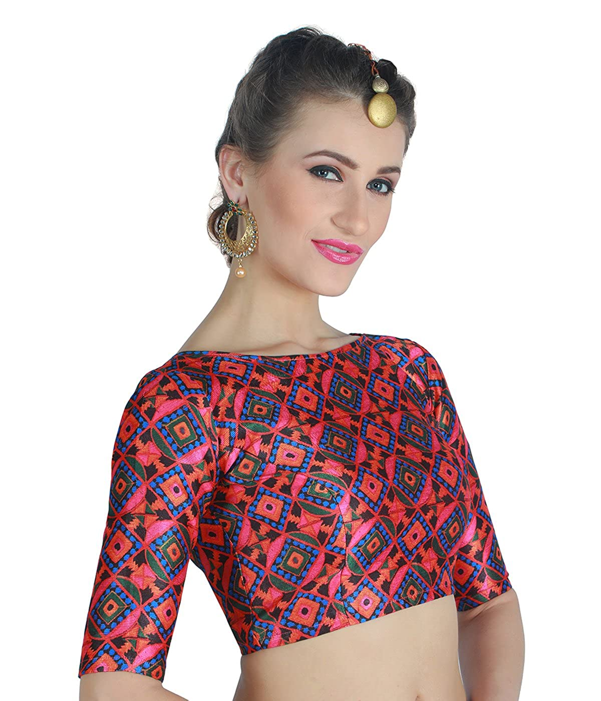 4591aea66b548 Studio Shringaar Women s Digital Print Poly Silk Saree Blouse  Amazon.in   Clothing   Accessories