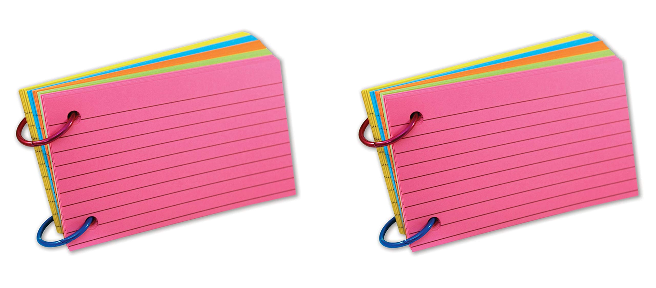 Top Notch Teacher Products TOP3674 Ring Notes, Lined, Assorted Bright Colors, 3'' x 5'', Pack of 75 (Тwo Рack)