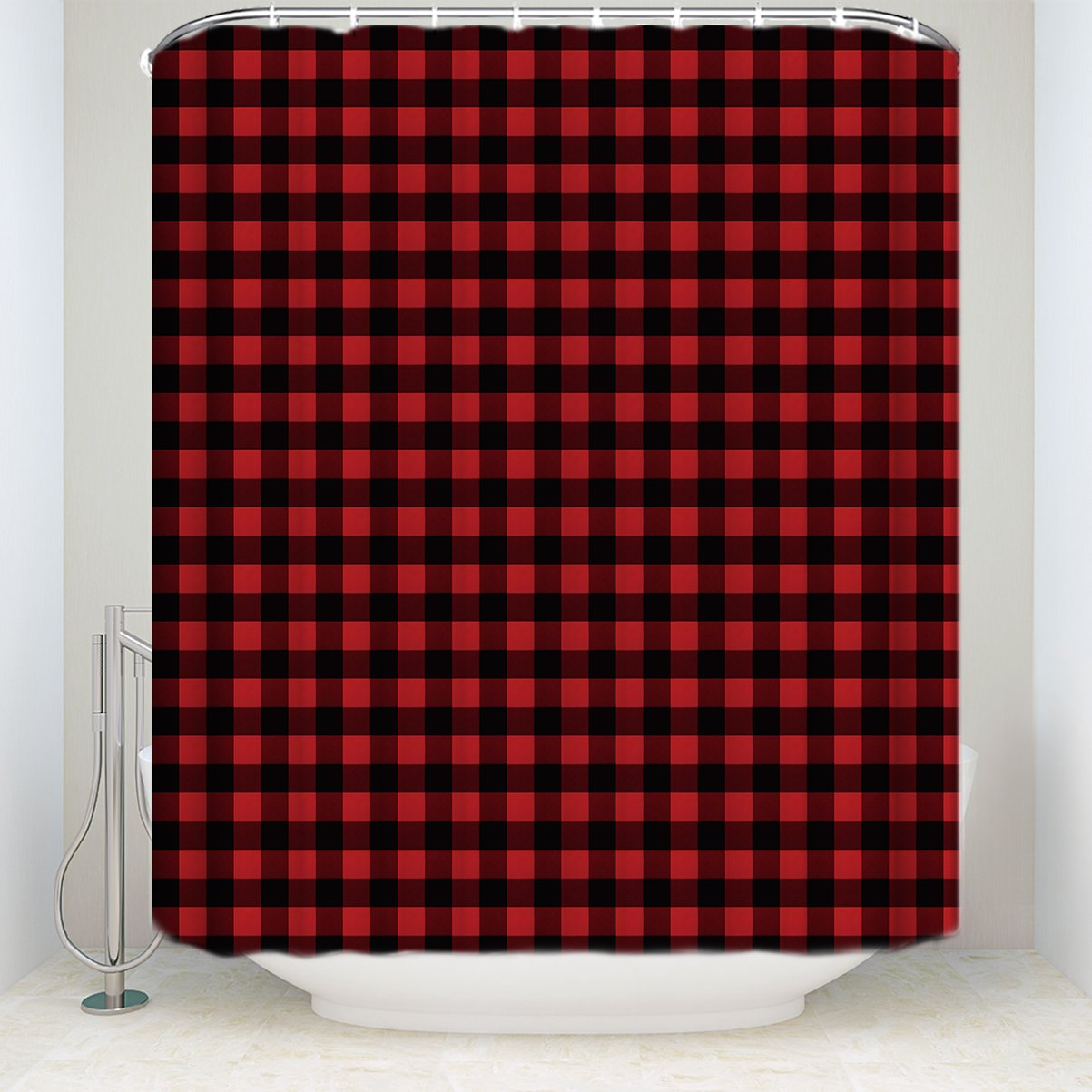 ZL Home Red Black Buffalo Plaid Shower Curtains Rustic Style Curtain Collections Polyester Waterproof Fabric Bath Tub Hotel
