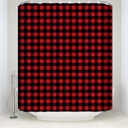 ZL Home Red Black Buffalo Plaid Shower Curtains Rustic Style Curtain Collections Polyester Waterproof Fabric