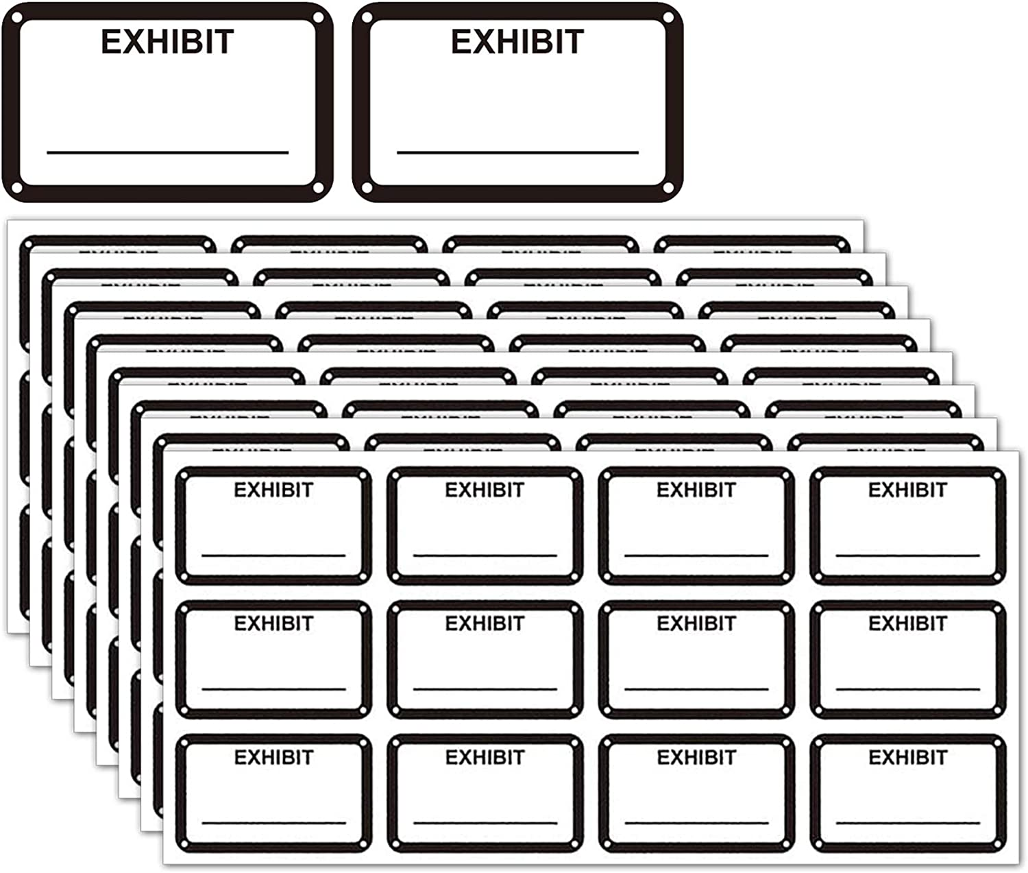 White Legal Exhibit Stickers 1.65 X 1 Inches - Color-Coded Exhibit Labels 300 Stickers Per Pack (White)