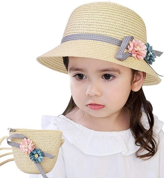 d233a954 Lachi Sombrero de Paja Niña Gorra de Sol Chica + Bolsillo Set Gorro de  Playa Niñas Anti UV Protección Solar Alas Anchas Transpirable para Viaje ...