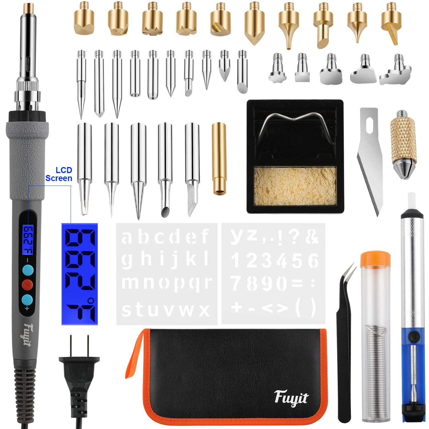 Fuyit 42Pcs LCD Wood Burning Kit, Pyrography Pen with Various Temperature Control, Woodburning Craft Tips for Wood Burning, Soldering, Carving, Embossing