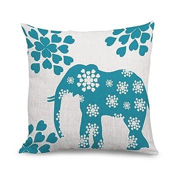 Carcasa de flores de elefante cojín y funda de almohada con ...