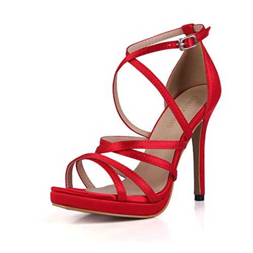 70b06691 CHMILE Chau-Zapatos para Mujer-Sandalias de Tacon Alto de Aguja-Elegantes- Novia-Boda-Nupcial-Vestido de Fiesta-Correa de Tobillo-Plataforma 1cm:  Amazon.es: ...