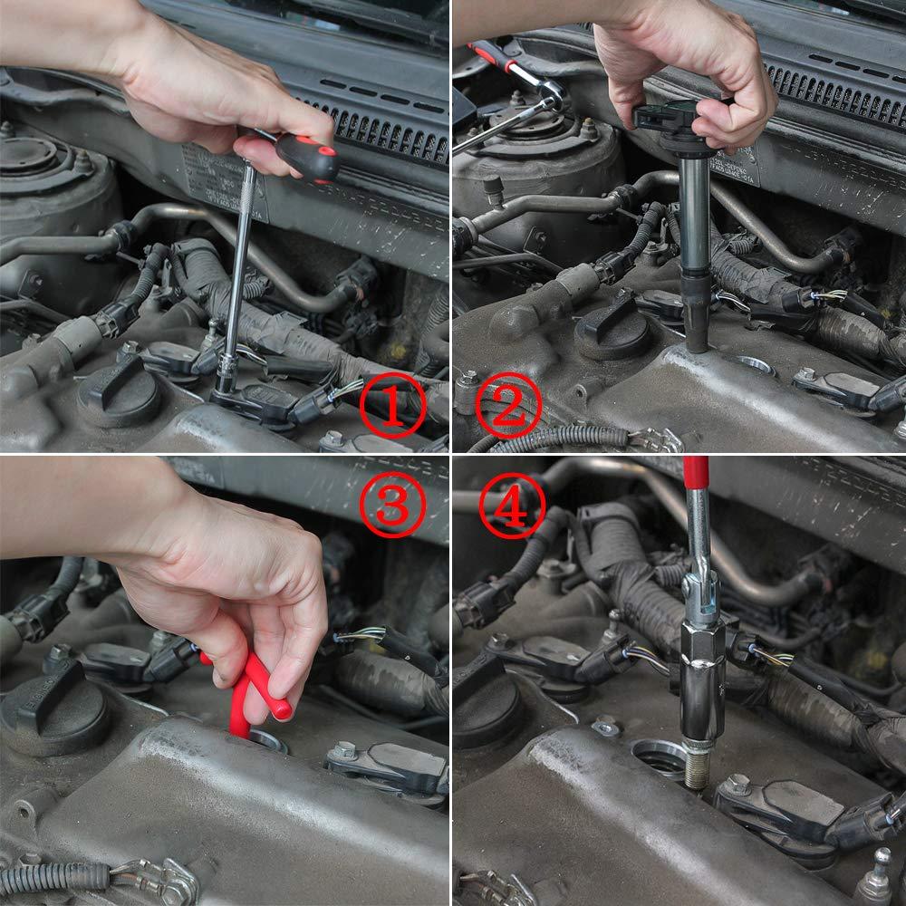 SENZEAL Spark Plug Socket Wrench Removal Tool T-Bar Joint Spark Spanner Socket 16mm 21mm Socket Red