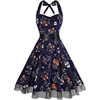 oten Women's Vintage Polka Dot Halter Dress 1950s Floral Sping Retro Rockabilly Cocktail Swing Tea Dresses