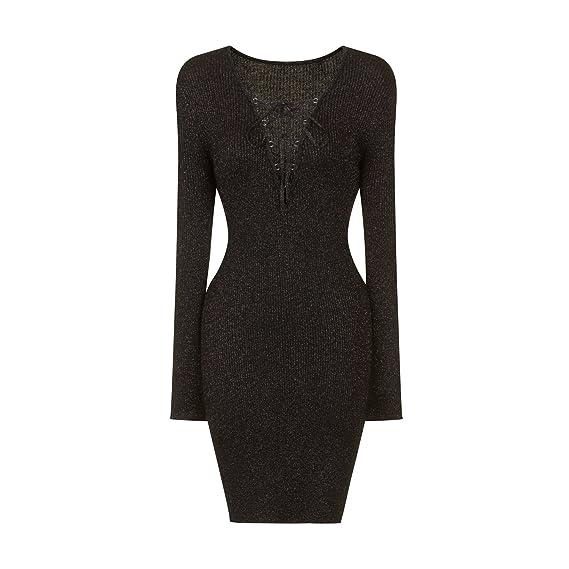 2b60f57ceade Girls On Film Womens Ladies Knitted Lurex Dress (10 UK) (Black)   Amazon.co.uk  Clothing