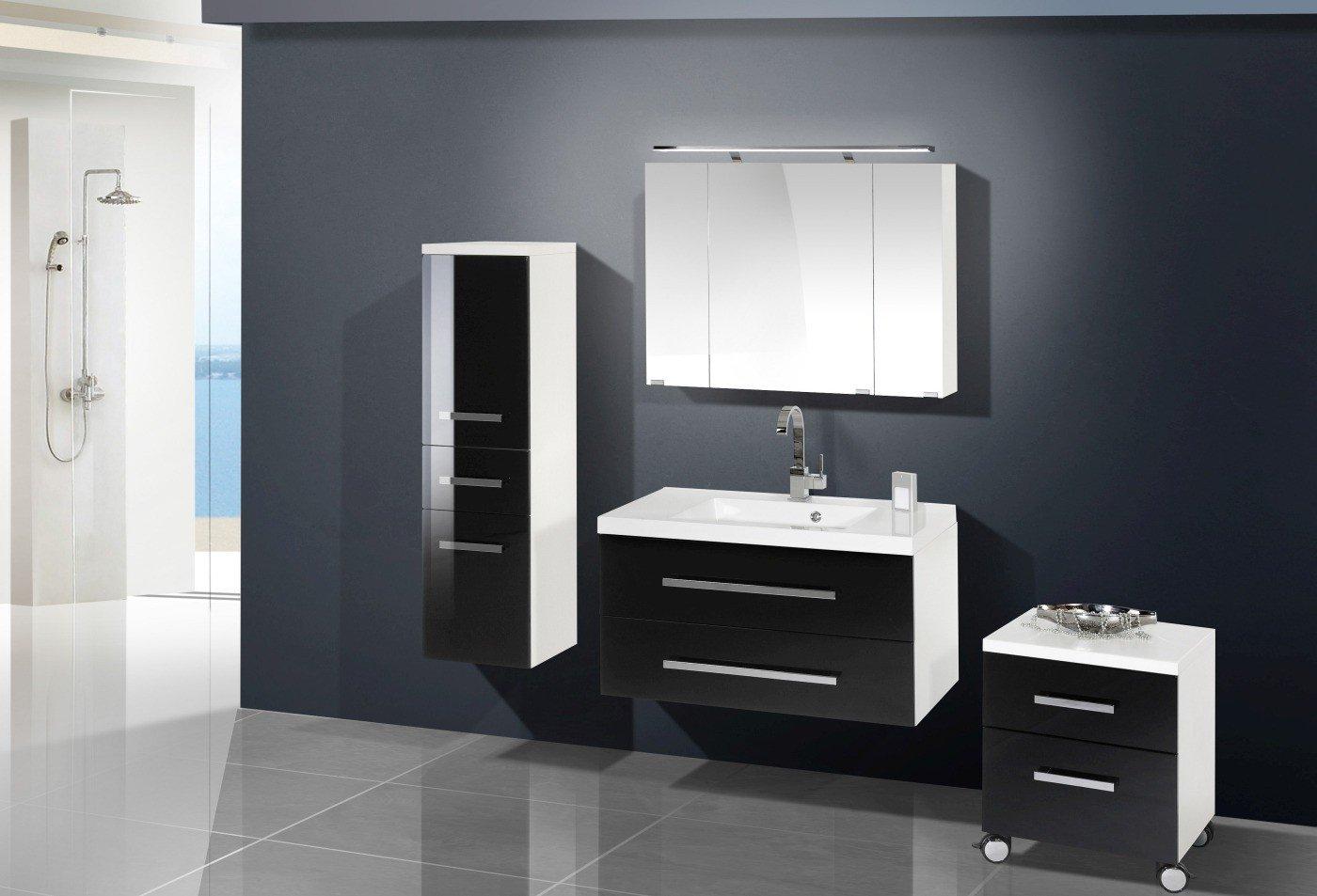 Badmöbel Set mit Spiegelschrank 90 cm
