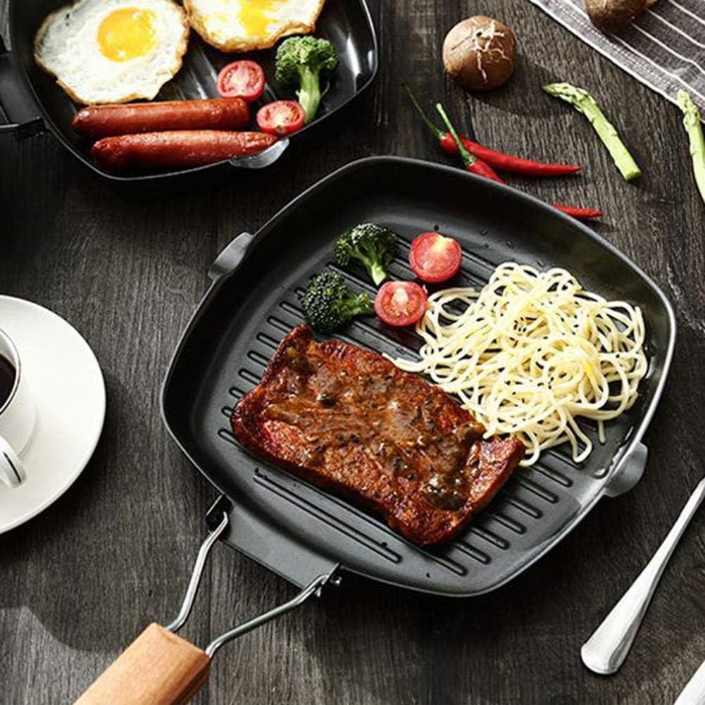 iYoung Steak poêle Pliable Épaissir Poêle Poêle Griller Antiadhésive Carré, Grill à Steak BBQ, Manche Amovible, Convient pour Four, Noir 24 * 28cm