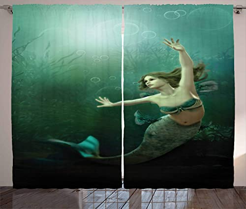 Ambesonne Mermaid Curtain