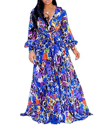 cab63eb9aa Women's Floral Summer Maxi Dresses Plus Size V Neck Wrap Long Chiffon  Sundress with Belt