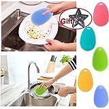 2 brosses de nettoyage magique multifonctions pour plats, bols, casseroles et poêles,de couleur aléatoire en silicone, brosses de lavage pour aspirateur...