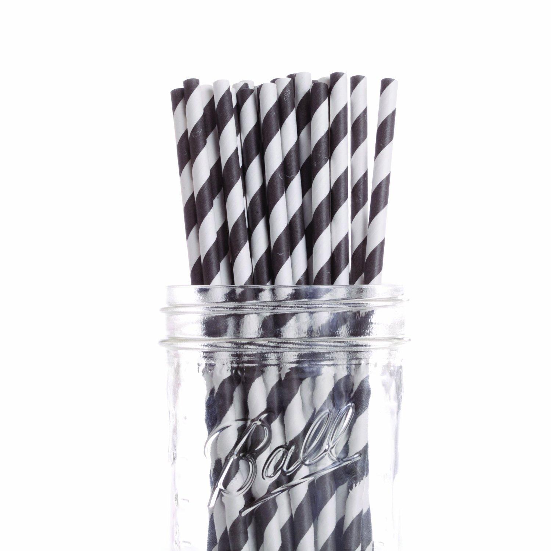 Dress My Cupcake 6-Inch Vintage Paper Cakepop Straws, Black Striped, Case of 6200 by Dress My Cupcake (Image #1)