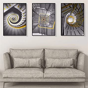 qiumeixia1 Escaleras Escalera de pintura Escaleras Cartel Lienzo en blanco y negro de la pared Cuadros