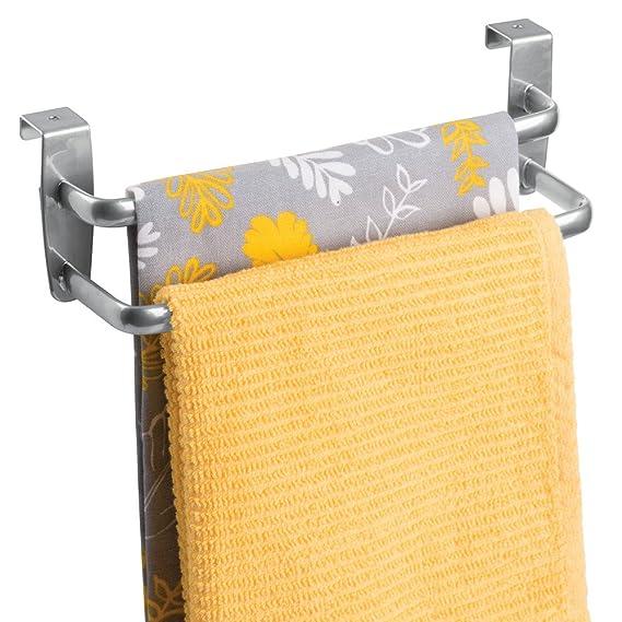 InterDesign Axis Colgador de toallas | Organizador con dos barras para toallas | Toallero de baño y cocina para puertas | Metal plateado: Amazon.es: Hogar