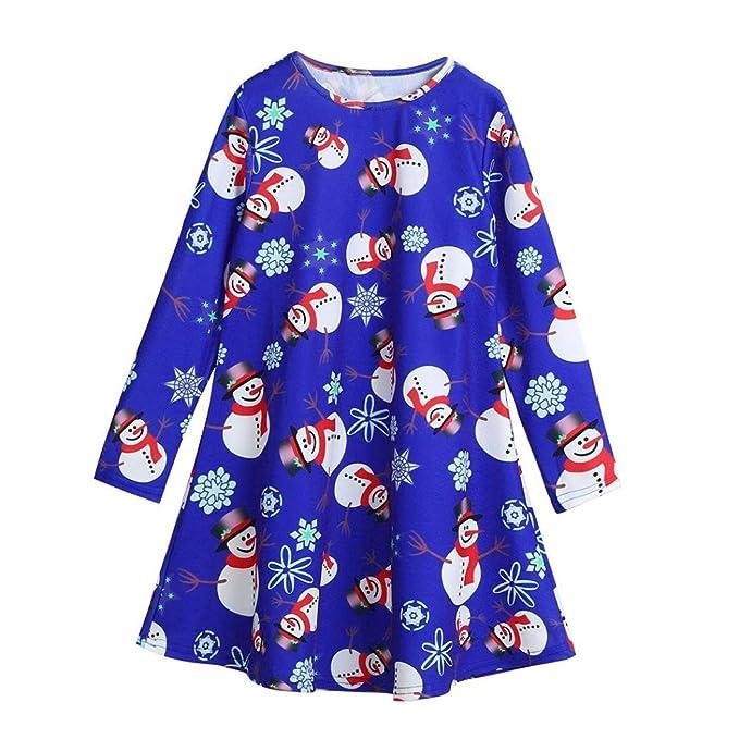 K-youth® Navidad Fiesta Vestido Bebe Niña Disfraz Muñeco de nieve Imprimir Tutú Vestidos Niña Invierno Ropa Nina Oferta Manga Larga Princesa Vestido: ...
