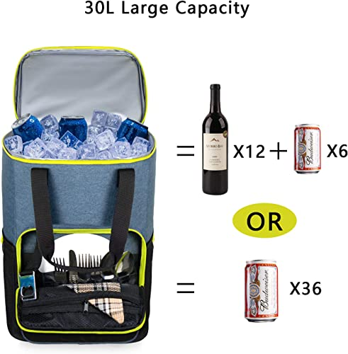 Hap Tim Backpack Cooler Insulated Leak-Proof Cooler Backpack Large Capacity 30 Cans Soft Cooler Bag for Men Women to Picnics, Hiking, Camping, Beach, Lunch, Park or Day Trips 13760BK-G