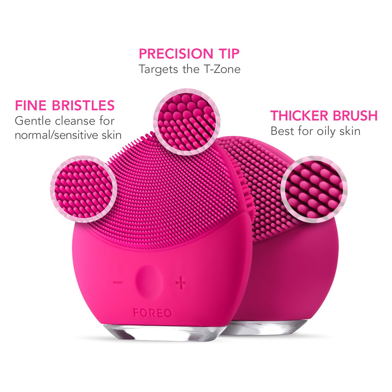 FOREO LUNA mini 2 Facial Cleansing Brush, Gentle Exfoliation and Sonic Cleansing for All Skin Types, Fuchsia by FOREO (Image #7)