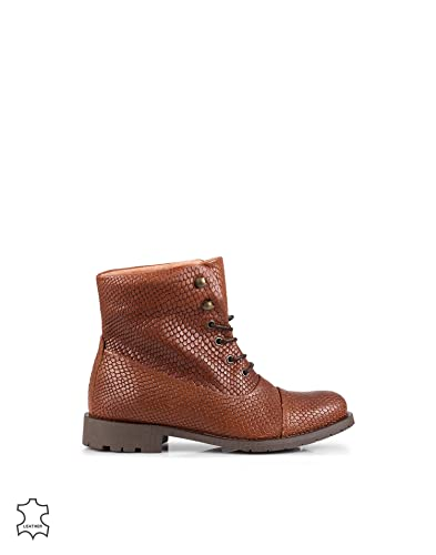 38bd5f4b255 Pieces Women s Senida Leather Snake Boot Cognac Size 40 leather. inside  leather. outer sole