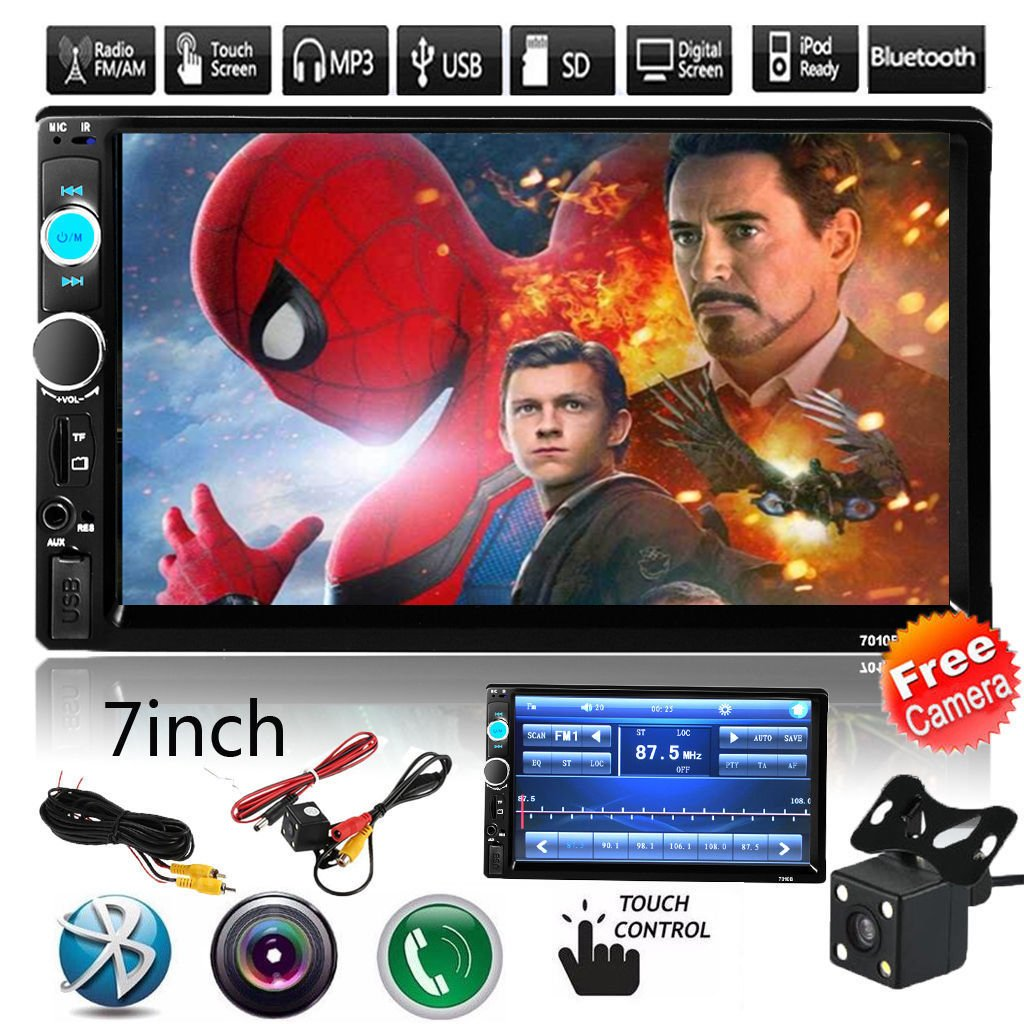 Cavogin Car Rear View Camera + 7'' Double Din Touchscreen In Dash Stereo Car Receiver Audio Video Player Bluetooth FM Radio Mp3/TF/USB/AUX-in/Subwoofer + Remote Control