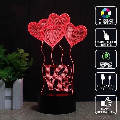 Quatre LampeFzai 7 3d Illusion Romantics Couleurs Ballons Amour sCtrdhQ