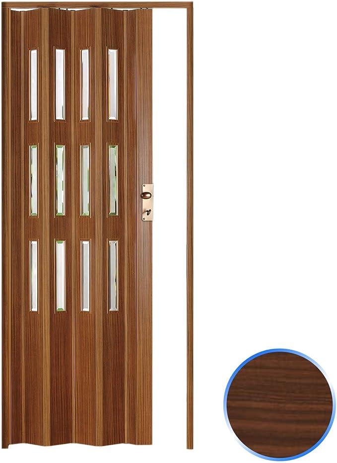 Forte Puerta Plegable de Interior de PVC 88,5x214 cm Nuez Claro - Vidrio Transparente Mod.Luciana: Amazon.es: Hogar