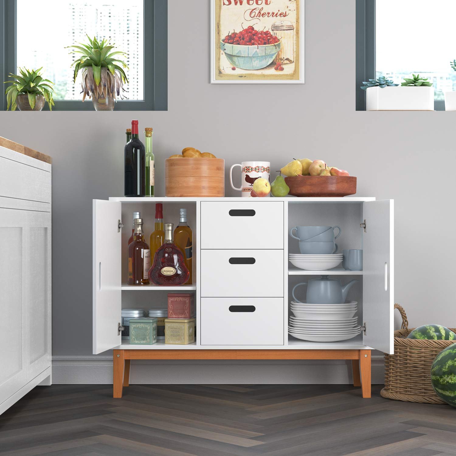 HOMECHO Floor Buffet Sideboard Storage Cabinet Freestanding Console Table Cupboard Chest 2 Door, 3 Drawers and 2 Inside Adjustment Shelf for Hallway, Living Room and Kitchen White Color HMC-MD-004 by HOMECHO (Image #3)