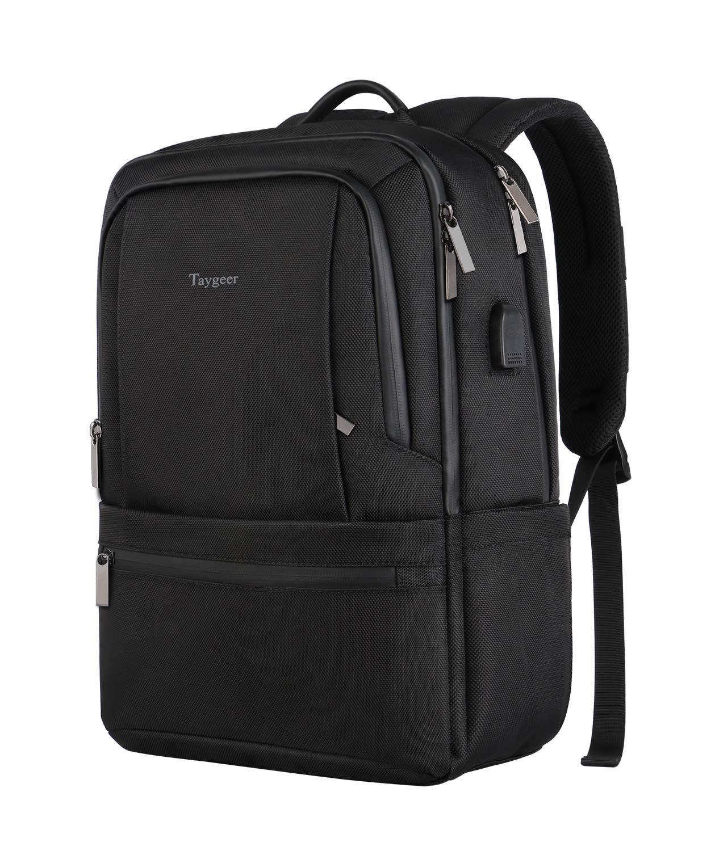 Laptop Backpack Waterproof, Black High School Backpack for Boys Men Women,Slim Business Travel Backpack for Middle School College Bookbag Outdoor Daypack,Unisex Laptop Bag W/USB Port Fit 15.6 Computer