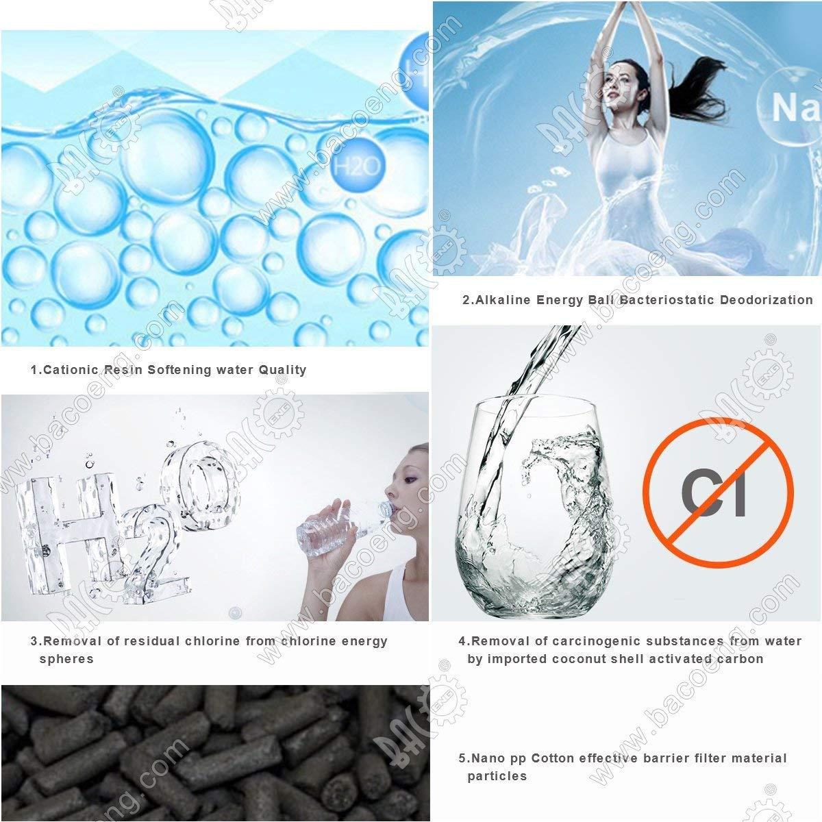 color negro jarra de agua//m/áquina de alcalinizar de pH alto con 2 filtros de larga duraci/ón Brian /& Dany Jarra de filtro de agua alcalina con indicador LED 3,5 l